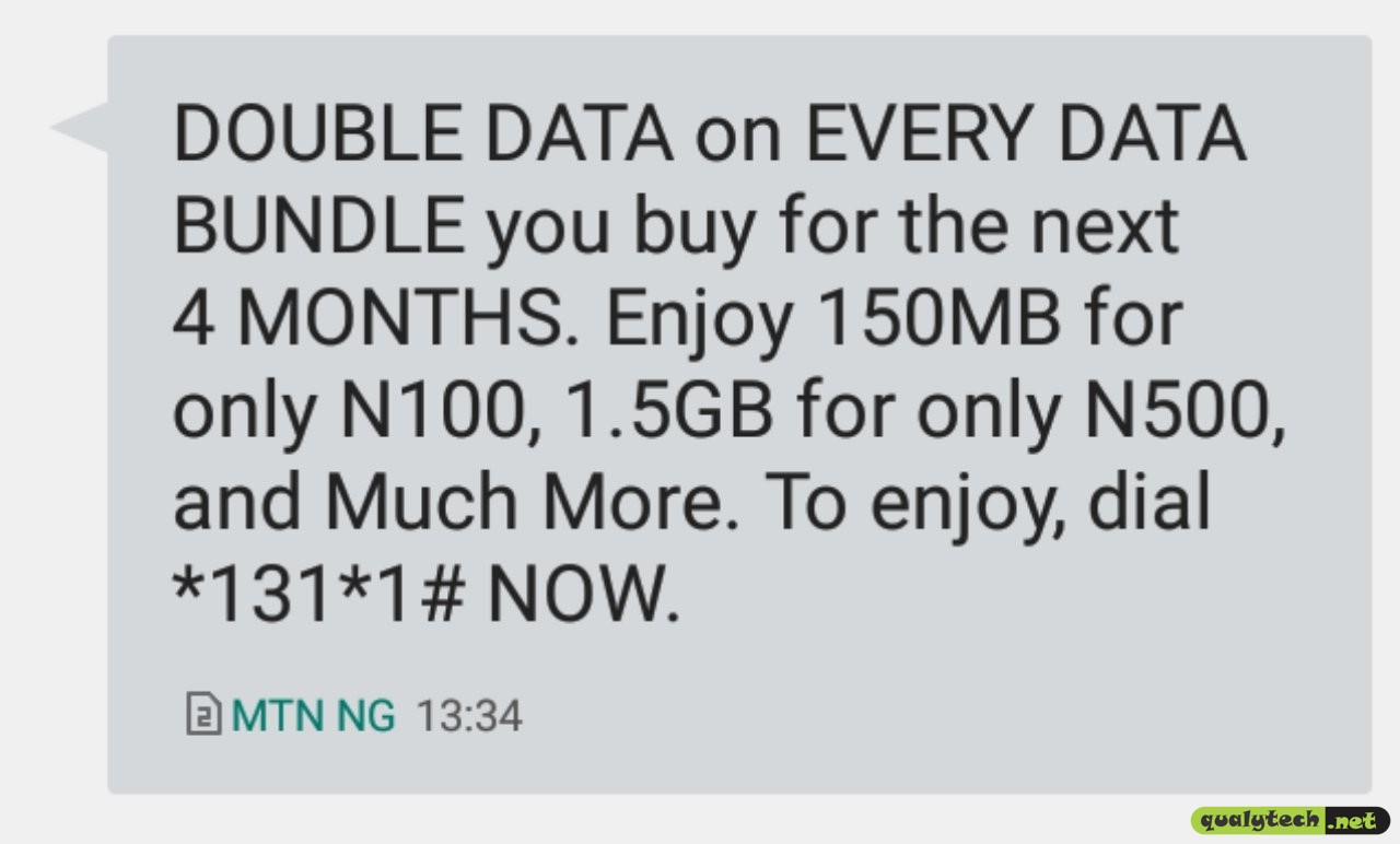 How to enjoy 150MB for N100, 1.5GB for N500 via MTN Double Data offer