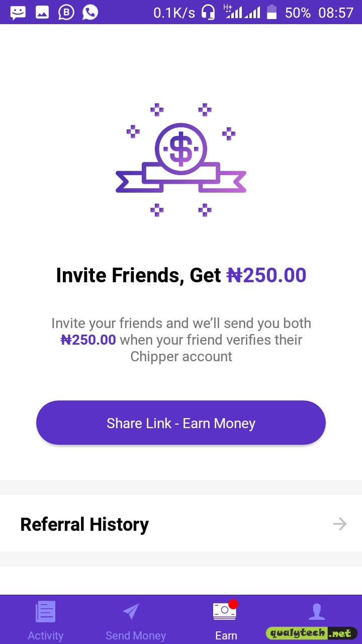 Chipper Cash app: Earn N250 per referral and up to N10,000 a month
