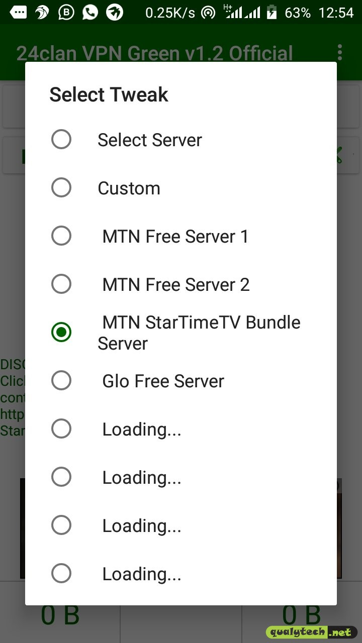 MTN free browsing tweak to power the StarTimes video streaming pack using 24Clan VPN Green Edition V1.2