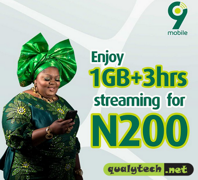 How to get 1GB + 3hrs streaming bundle for N200 on 9mobile