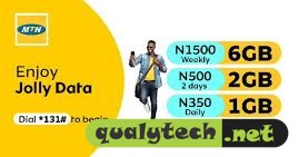 MTN Jolly Data - 6GB for N1500, 2GB for N500, 1GB for N350