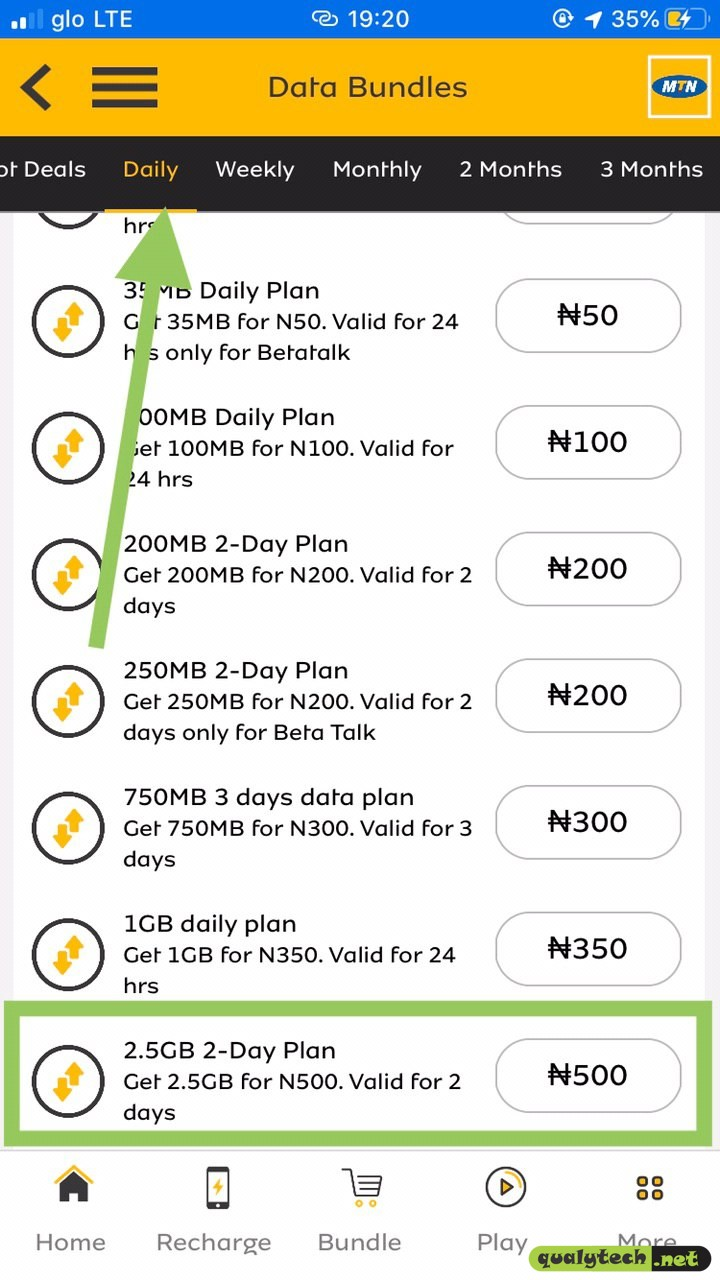 How to activate 2.5GB for N500 on MTN