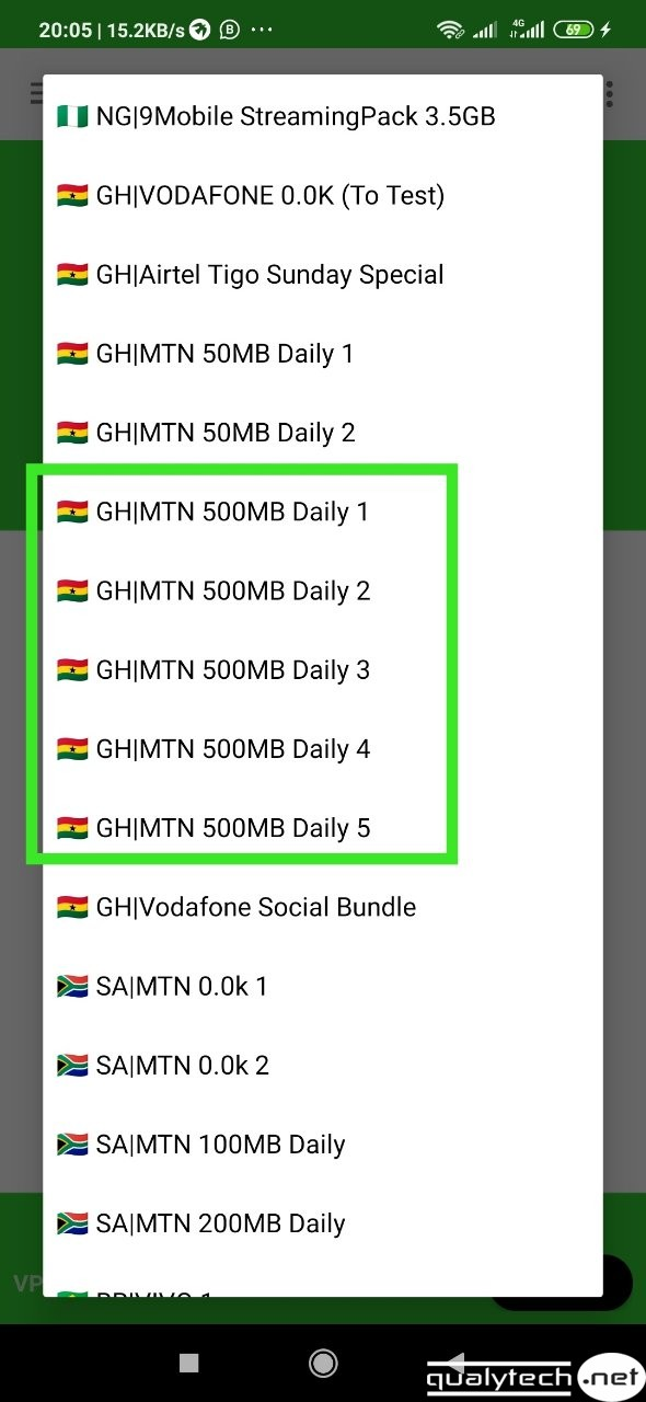 MTN Ghana 500MB daily free browsing cheat settings on 24Clan VPN Lite