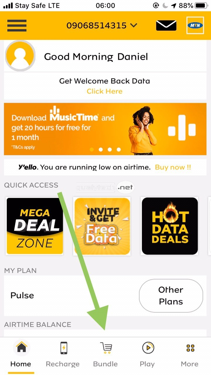 How to share data from one MTN SIM to another using MyMTN App